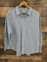 Gibson Latimer Women's Blue & White Pinstripe Tab Sleeve Button Up Shirt Size L