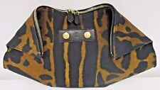 ALEXANDER MCQUEEN Brown & Coffee Animal Print De-Manta Fabric & Leather Clutch