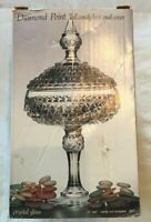 Vintage Indiana glass diamond point Candy Box w/lid clear New In Box Crystal