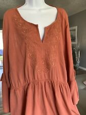 Torrid  Womens Babydoll  Tunic Top  Size 3 Color Coral Long sleeve