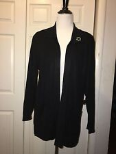 Exclusively Misook sz M  Black Acrylic  Long Sleeve Open Front Cardigan