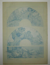 Alphonse MUCHA - Figures DECORATIVES - Lithographie ancienne en Bleu ART DECO