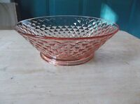Imperial Glass - Ohio Pink Depression Round Bowl Diamond Quilted Pattern