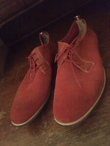 clarks men's oxfords lace up dress shoes red leather SZ 13 M US