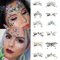 Body Adhesive Glitter Stickers Tattoo Face Gems Rhinestone Jewels Party Festival