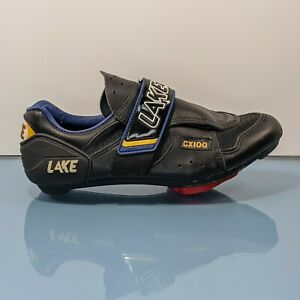 LAKE CX100 Mens 7.5 / Womens 9 Black Lace Up Composite Road Cycling Cleats Shoes
