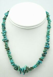 VINTAGE Sterling Silver / Turquoise Beads Ladies Navajo Necklace