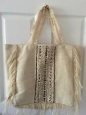beach tote. Cream with beading. Never used.