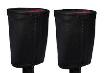 BLACK STICH 2X FRONT SEAT BELT BUCKLE LEATHER COVERS FOR HOLDEN COMMODORE VR VS