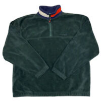 Vintage Tommy Hilfiger Men's Green 1/2 Zip Fleece Pullover Sweater Size Large