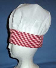 CHEF'S HAT;CHILD;ADULT;UNISEX;BAKER;BARBECUE;COOK;PATRIOTIC;RED/WHITE-PLAID;NWT