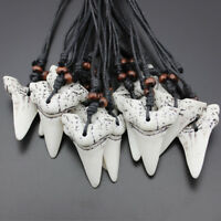 Shark Tooth Pendant Necklace Teeth Surf Surfer Gift Mens Womens Punk Jewellery