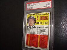 1969 Topps Checklist New York Yankees Outfielder #412 Mickey Mantle (MK) PSA 3