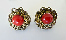 Vintage Miriam Haskell Coral Glass Bead Brass Filigree Screwback Clip Earrings
