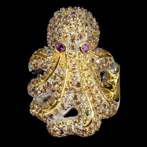 Orange Sapphire Diamond Cut Rhodolite 925 Sterling Silver Octopus Big Ring 9
