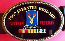 "Vietnam Veteran -196th INFANTRY BRIGADE ""Chargers""- Epoxy Belt Buckle"