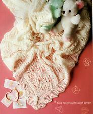 Frost Flores Bebé chal Con Ojal frontera 2ply Tejer patrón