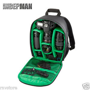 Indepman DSLR Camera Bag, Adjustable Accesories Storage Backpack (Green)