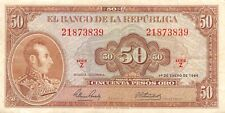 Colombia  50  Pesos  1.1.1964   Series Z  Rare  Circulated Banknote FL0917W