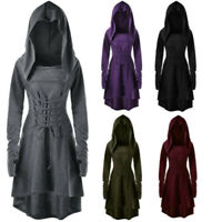 Fashion Women Thumb Hole Lace Up Hooded High Low Dresses Long Sleeve Dress M-2XL