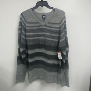 NWT Route 66 Mens' Pullover Striped Sweater Gray Size Large ~NEW W/TAGS~