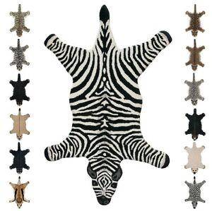 Bathroom Rug Living Room Animals 90x150cm Soft 100% Wool Zebra Bear Tiger