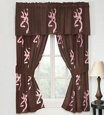 Browning Pink & Brown Window Curtains, 2 Panel Drapes Buckmark Logo