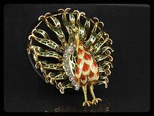Imposante Pfauen Brosche mit Email und Diamanten  28,6g 750/- Gelbgold
