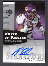 Aundrae Allison 2007 Ultimate Collection Write of Passage Auto Card