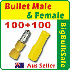 200 x Yellow Female + Male Bullet Pre-Insulated Crimp Terminal Connector 2.5-6mm