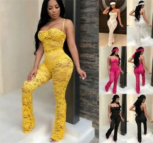 Women Rompers Lace Jumpsuit Clubwear Playsuit Summer Party Chiffon Outweaer