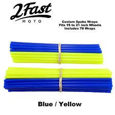 2FastMoto Spoke Wrap Kit Blue Yellow Wraps Skins Covers MX Motocross Trials Beta