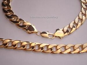 "24""   Heavy 8 mm  Gold Tone Chain Necklace & Bracelet Set  NEW"