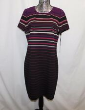 New! $89 Calvin Klein Stripe  Polyester Knit S/L Sheath Dress....14