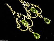 E040- Genuine 9K SOLID Gold NATURAL Peridot FILIGREE Earrings Drop Chandelier
