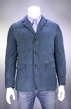 NWT New * KITON * $11,900 Teal Suede Leather Goose Down Cashmere Lined Jacket 40