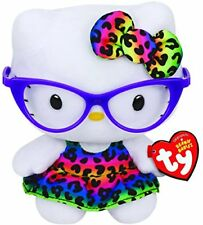 "TY Beanie Baby 6"" HELLO KITTY PURPLE GLASSES Plush Stuffed Animal Toy Heart Tags"