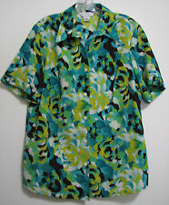 Allison Daley Sz 12 Green Yellow Floral Polyester S/S Button Blouse Shirt Top