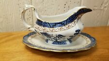 "BOOTHS ""REAL OLD WILLOW""  BLUE ENGLAND A8025 Gravy/Sauce Boat W/Underplate"