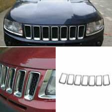 ABS Chrome Front Grille Grill Ring Cover Trim 7PCS For Jeep Compass 2011-2016