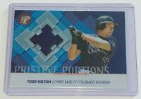2002 Topps Pristine Portions Jerseys /1000 Todd Helton #PP-TH Colorado Rockies