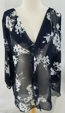 New Lane Bryant Womens Blouse Blue White Floral Polyester Sheer 22/24