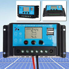 20A PWM Solar Panel Battery Charge Controller 12V/24V Auto +LCD Display Dual USB