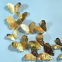 12 Pièces 3D Papillon Autocollant Mural Porte Fenêtre Décalques Décor Maison