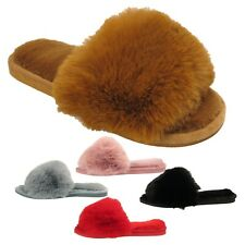 Womens Ladies Slides Furry Slippers Mules Sliders Open Toe Sandals Shoes Size