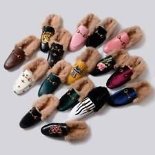 Hot Womens Rabbit Fur Furry Winter Warm Leather Slippers Shoes Embrodiery Mules