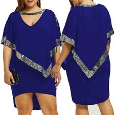 Women Plus Size Sequined Decorated V-Neck Half Sleeve Sparkly Capelet Dress