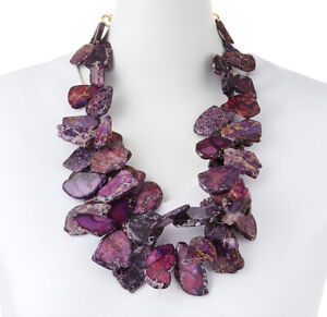 Purple Jasper Large Chunky Necklace Statement Gem Beads Jewelry Made in USA