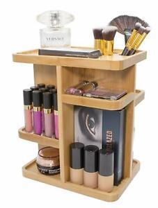 360° Bamboo Makeup Organizer, Multi-Function Storage Carousel for Cosmetics