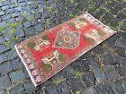 Turkish small rug, Handmade wool rug, Vintage rug, Doormat   1,5 x 3,0 ft